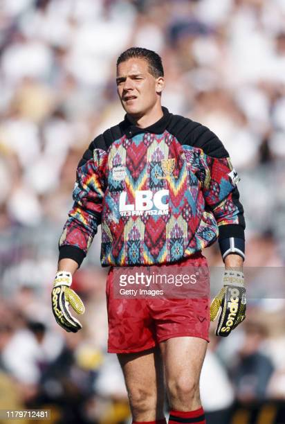 Wimbledon goalkeeper Hans Segers wearing a colourful Sondico Goalkeeping jersey looks on during a Premiership match at Selhurst Park against Spurs on...