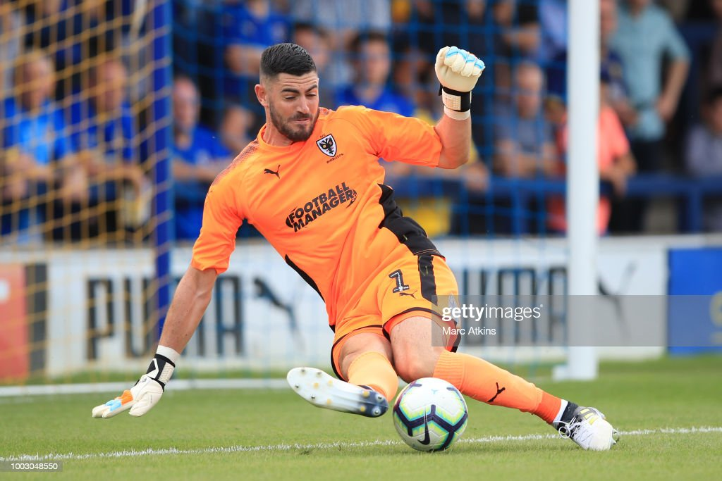 AFC Wimbledon goalkeeper Tom King during the pre season friendly match between AFC Wimbledon and Brighton and Hove Albion at The Cherry Red Records Stadium on July 21, 2018 in Kingston upon Thames, England.