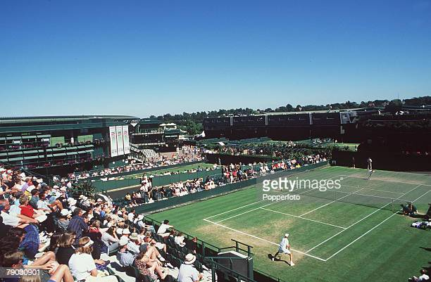 Wimbledon Lawn Tennis Championships General view shows the crowd watching a tennis match on court 18