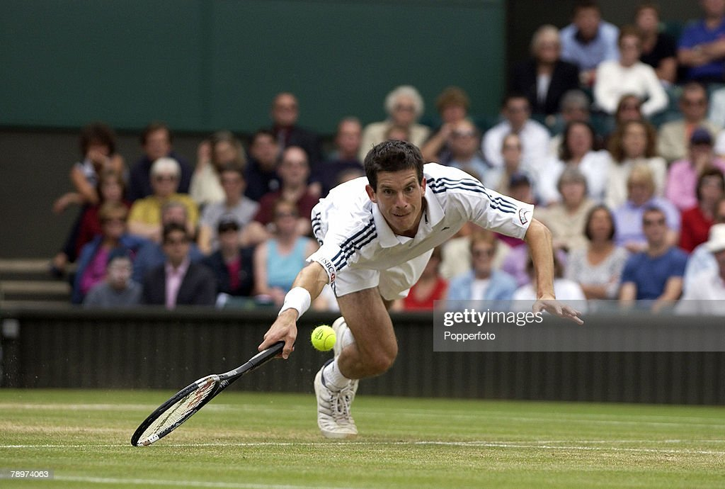 PF 2002 Wimbledon Lawn Tennis Championships. London England. 4th July 2002. Mens Singles. Tim Henman, Great Britain. : News Photo