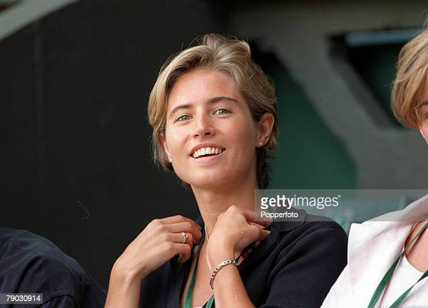 Wimbledon Lawn Tennis Championships Mens Singles Tim Henman's girlfriend Lucy Heald watches one of his matches