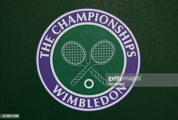 Wimbledon logo on Day 4 of the 2009 Wimbledon Tennis Championships at the All England Lawn Tennis and Croquet Club in Wimbledon London UK