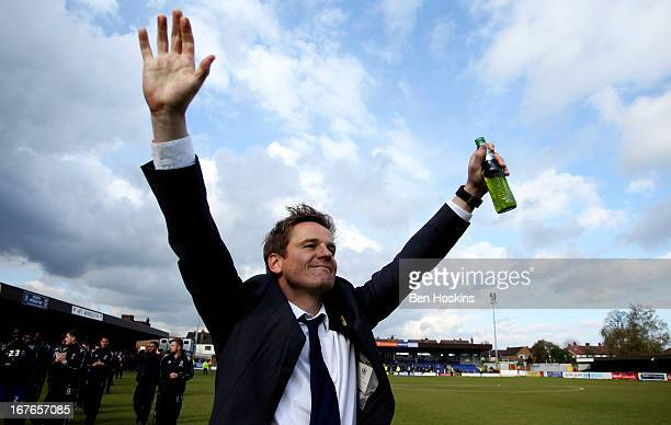Wimbledon manager Neal Ardley celebrates after the final whistle during the npower League Two match between AFC Wimbledon and Fleetwood Town at the...