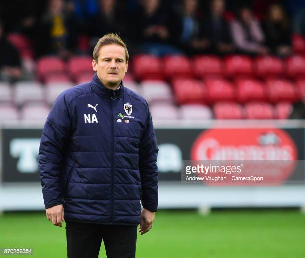 Wimbledon manager Neal Ardley during the Emirates FA Cup First Round match between AFC Wimbledon and Lincoln City at The Cherry Red Records Stadium...