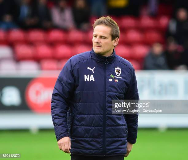 Wimbledon manager Neal Ardley during the Sky Bet League One match between AFC Wimbledon and Plymouth Argyle at The Cherry Red Records Stadium on...