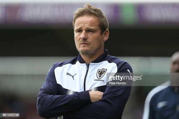 Wimbledon manager Neal Ardley looks on during the Sky Bet League One match between Northampton Town and AFC Wimbledon at Sixfields on October 14 2017...