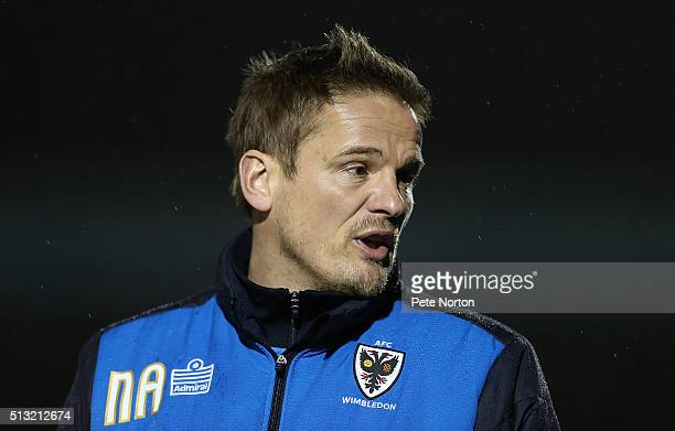 Wimbledon manager Neal Ardley looks on during the Sky Bet League Two match between Northampton Town and AFC Wimbledon at Sixfields Stadium on March 1...