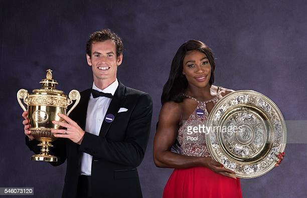 Wimbledon men's singles Tennis Champion Andy Murray of Great Britain and the ladies singles Tennis Champion Serena Williams of the United States pose...