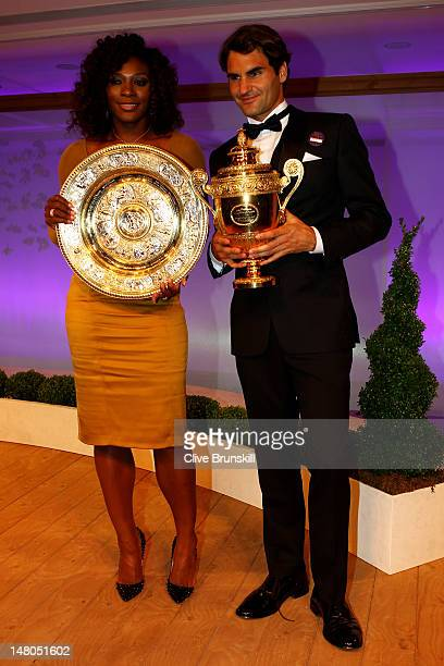 Wimbledon Singles Champions Serena Williams and Roger Federer attend the Wimbledon Championships 2012 Winners Ball at the InterContinental Park Lane...