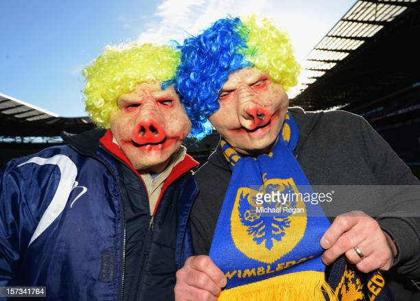 Wimbledon supporters wear 'pig masks' prior to the FA Cup with Budweiser Second Round match between MK Dons and AFC Wimbledon at StadiumMK on...