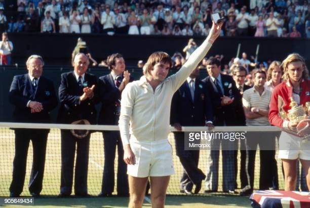 Wimbledon Tennis Championships 1977 Mens Final Trophy Ceremony at end of match Centre Court Wimbledon Saturday 2nd July 1977 Runner Up Jimmy Connors...