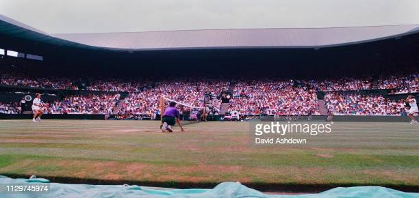 Wimbledon Tennis Championships Martina Navratilova during her semi-final with Gigi Fernandez June 1994.