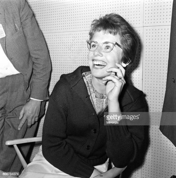Wimbledon Tennis Ladies day Pictured Billie Jean Moffitt during a press interview 26th June 1962