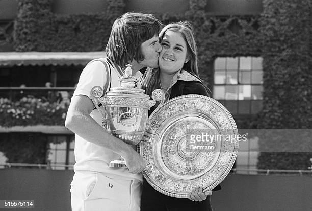 Wimbledon: The Wimbledon champions-Jimmy Connors kisses his fiance Chris Evert, after they had won the Men's Singles and Women's Singles titles. They...