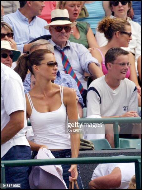 wimbledon uk july 4 2001 lara feldham girlfriend of pat rafter on court for pat's match against tomas enqvist Rafter won 61 63 76