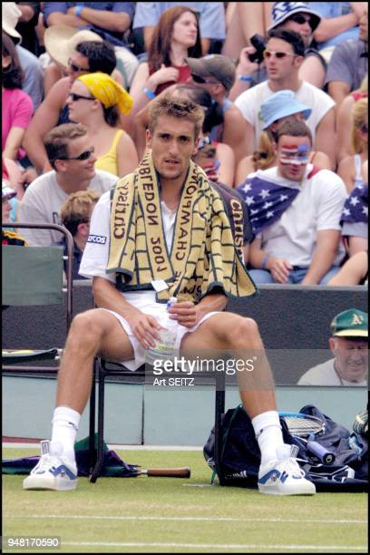 wimbledon uk july 4 2001 nicolas escude with towel over shoulders during change over vs andre agassi Escude lost in 4 sets to Agassi 67 63 64 62