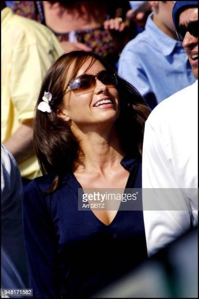 wimbledon uk july 6 2001 pat rafter's girlfriend lara feldham smiling after pat's five set wimb semi final win