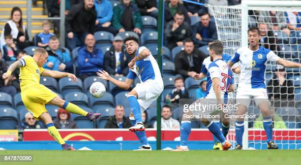 Wimbledon's Cody McDonald misses a shot on goal during the Sky Bet League One match between Blackburn Rovers and AFC Wimbledon at Ewood Park on...