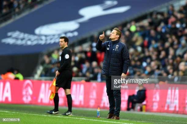 Wimbledon's Manager Neal Ardley during the FA Cup 3rd Round match between Tottenham Hotspur against Wimbledon at Wembley stadium London England on 07...