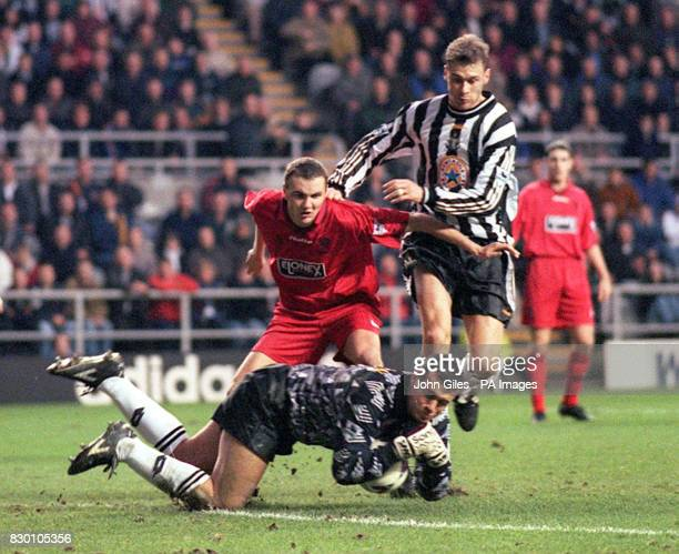FEATURE Wimbledon's Neil Sullivan saves a shot from Newcastle United's Duncan Ferguson uring this afternoon's Saturday November 28 FA Carling...