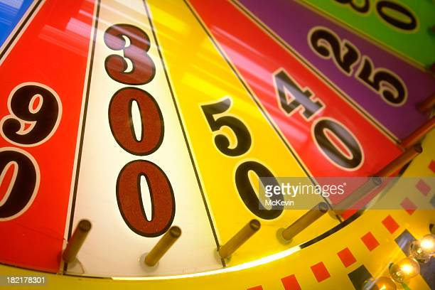win 300 points on a wheel of fortune - jackpot stock pictures, royalty-free photos & images
