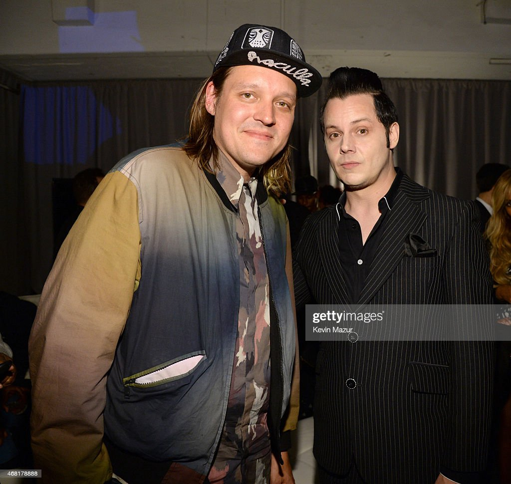 Win Butler and Jack White attendsthe Tidal launch event #TIDALforALL at Skylight at Moynihan Station on March 30, 2015 in New York City.