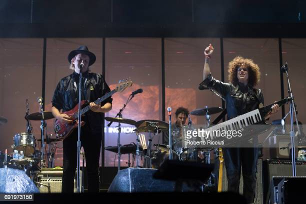 Win Butler and Regine Chassagne of Arcade Fire perform on stage during Primavera Sound Festival 2017 Day 4 at Parc del Forum on June 3 2017 in...