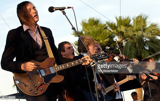 Win Butler and The Arcade Fire perform at the Coachella Valley Music and Arts Festival May 1 2005 in Indio California