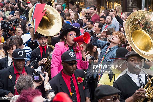 Win Butler of Arcade Fire and Preservation Hall Jazz Band lead a second line parade in honor of David Bowie on January 16 2016 in New Orleans...