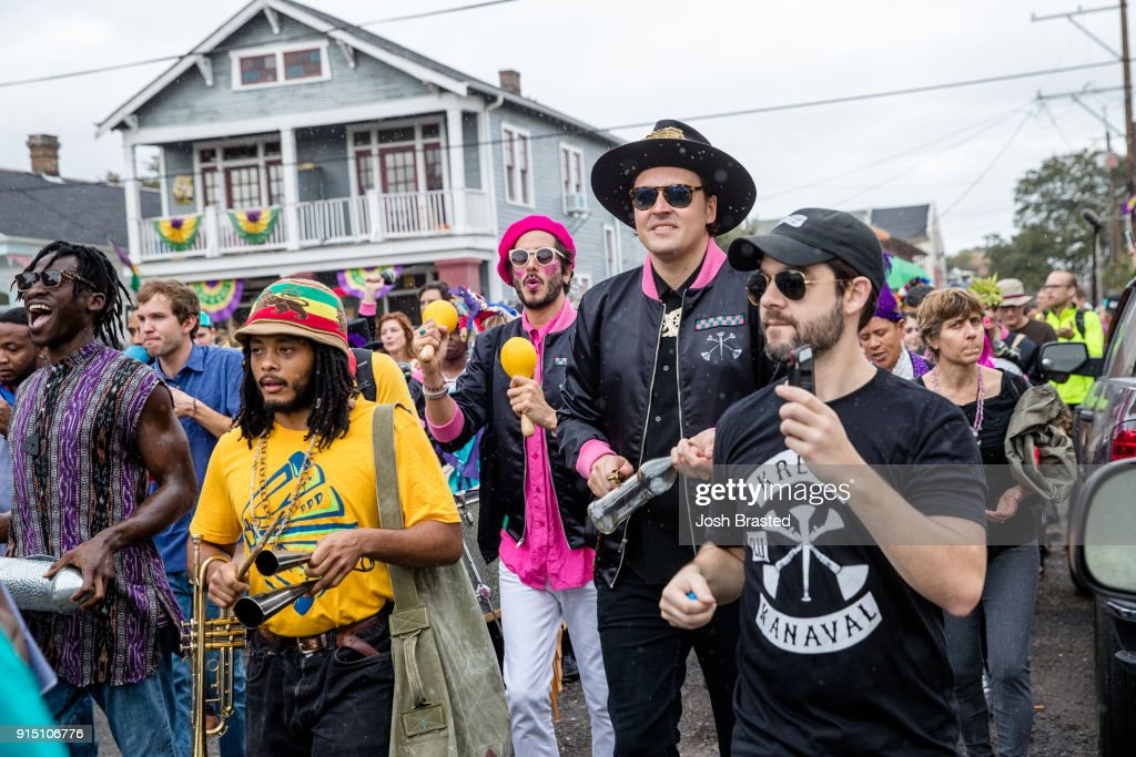 Win Butler of Arcade Fire attends a second line parade during the inaugural Krewe Du Kanaval on February 6, 2018 in New Orleans, Louisiana.