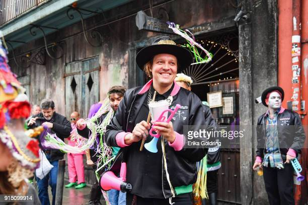 Win Butler of Arcade Fire leave Preservation Hall in the French Quarter during the Inaugural Krewe du Kanaval on February 6 2018 in New Orleans...