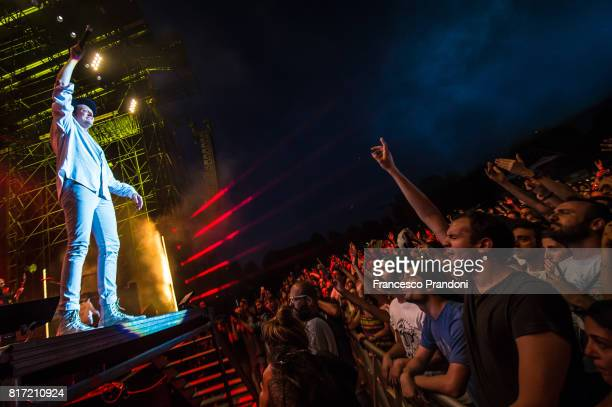 Win Butler of Arcade Fire performs at Ippodromo on stage on July 17 2017 in Milan Italy