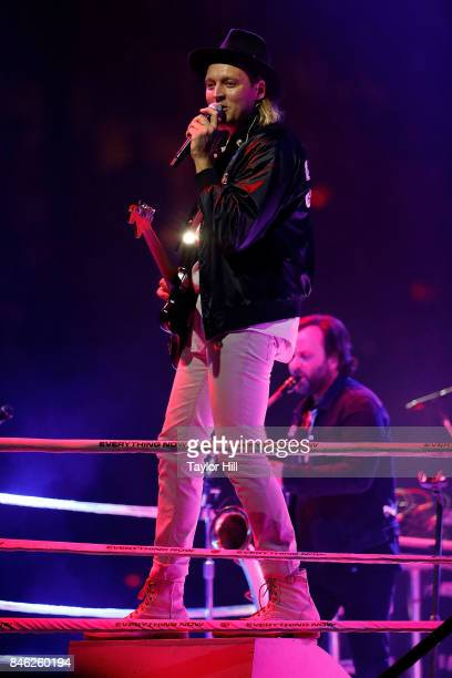 Win Butler of Arcade Fire performs at Madison Square Garden on September 12 2017 in New York City