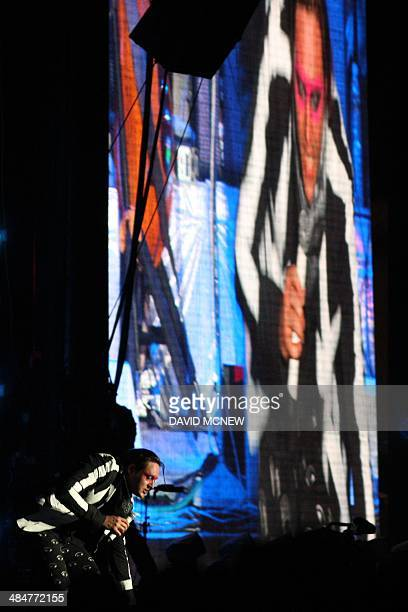 Win Butler of Arcade Fire performs at the Coachella Valley Music Arts Festival at the Empire Polo Club in Indio California April 13 2014 The annual...