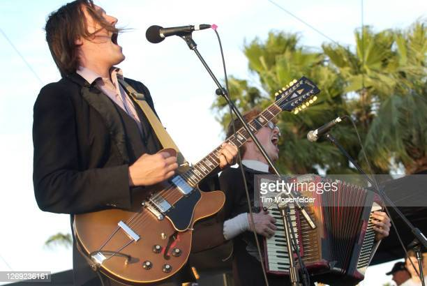 Win Butler of Arcade Fire performs during Coachella 2005 at the Empire Polo Fields on May 1, 2005 in Indio, California.