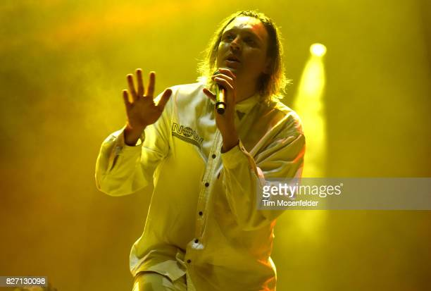 Win Butler of Arcade Fire performs during Lollapalooza 2017 at Grant Park on August 6 2017 in Chicago Illinois