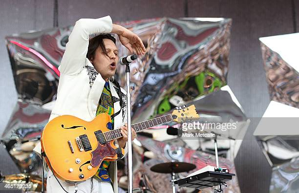 Win Butler of Arcade Fire performs live for fans at the 2014 Big Day Out Festival on January 26 2014 in Sydney Australia