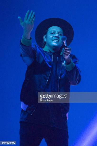 Win Butler of Arcade Fire performs live on stage at SSE Arena on April 11 2018 in London England