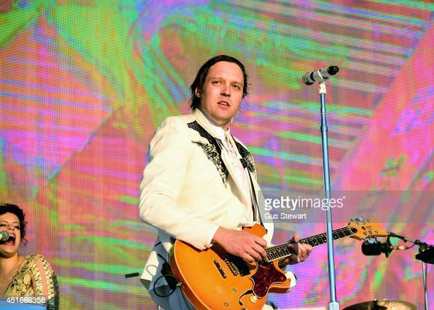 Win Butler of Arcade Fire performs on stage at the British Summer Time Festival at Hyde Park on July 3 2014 in London United Kingdom