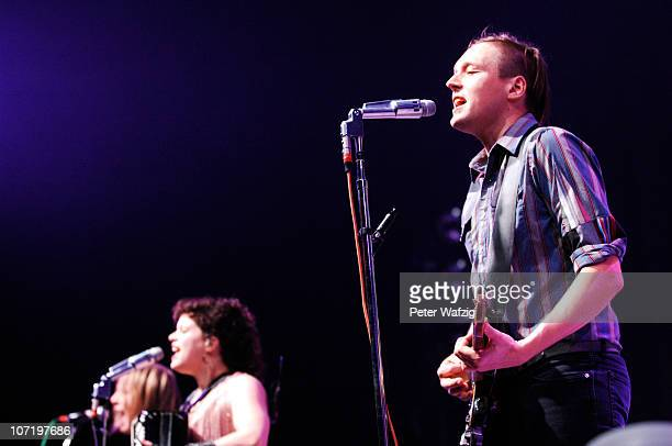 Win Butler of Arcade Fire performs on stage at the Philipshalle on November 29 2010 in Duesseldorf Germany