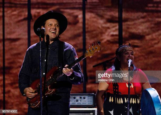 Win Butler of Arcade Fire performs on stage during the 2018 JUNO Awards at Rogers Arena on March 25 2018 in Vancouver Canada