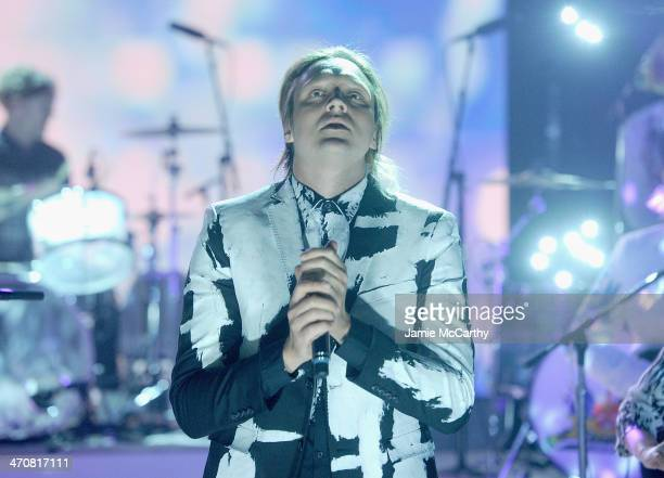 Win Butler of Arcade Fire performs on 'The Tonight Show Starring Jimmy Fallon' at Rockefeller Center on February 20 2014 in New York City