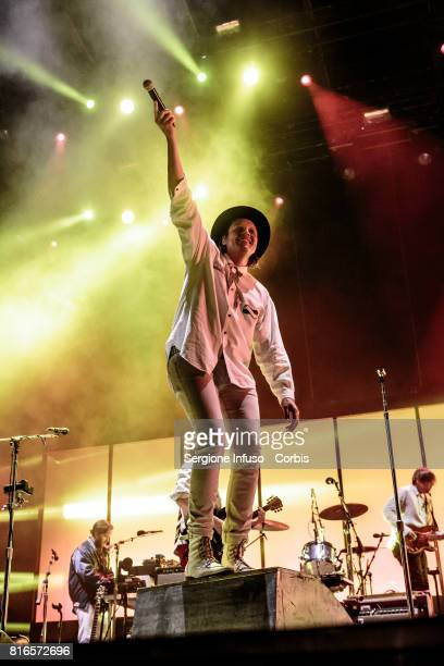 Win Butler of Canadian indie rock band Arcade Fire performs on stage on July 17 2017 in Milan Italy