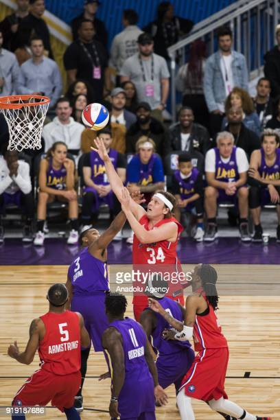 Win Butler of Team Clippers goes for a lay up against Sterling Brim of Team Lakers during the 2018 NBA AllStar Celebrity Game as part of AllStar...