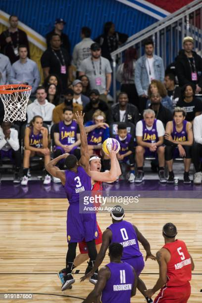 Win Butler of Team Clippers in action against Sterling Brim of Team Lakers during the 2018 NBA AllStar Celebrity Game as part of AllStar Weekend at...