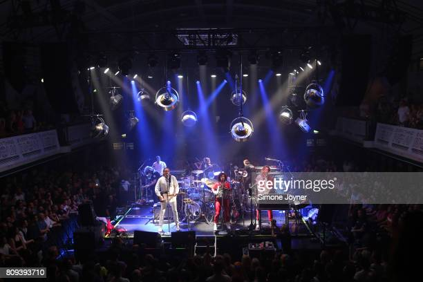 Win Butler Regine Chassagne and Richard Reed Parry of Arcade Fire perform an intimate show at York Hall on July 5 2017 in London England