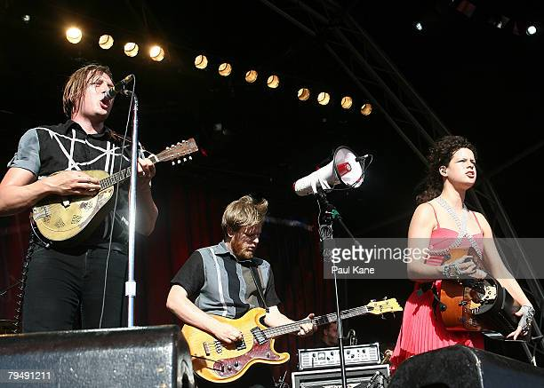 Win Butler William Butler and Regine Chassagne of Arcade Fire performs on stage during the 2008 Big Day Out at the Claremont Showgrounds on February...