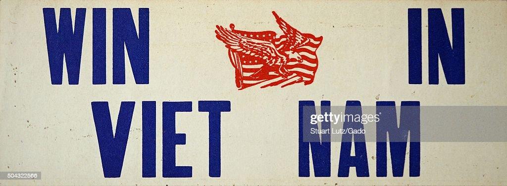 Win in vietnam a prowar bumper sticker from the vietnam war with red