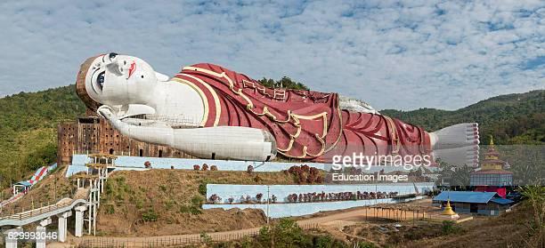 Win Sein Reclining Buddha Statue at Mudon near Mawlamyine Mon State Burma Myanmar