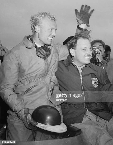 Win Tragic Le Mans Race Le Mans France British daredevil driver Mike Hawthorn and his teammate Ivor Bueb acknowledge cheers at the Le Mans after...